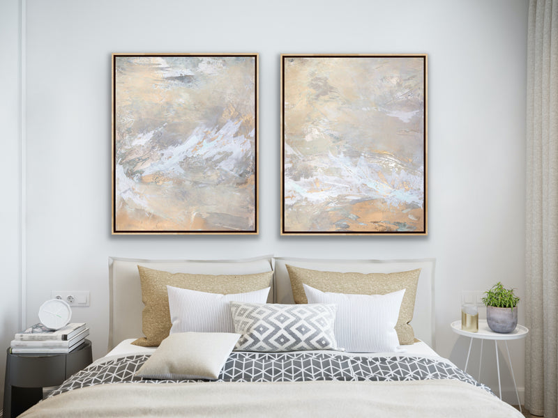 Canvas print wall art set abstract paintings by Julia Contacessi including: Light Within No. 1, and Light Within No. 2.