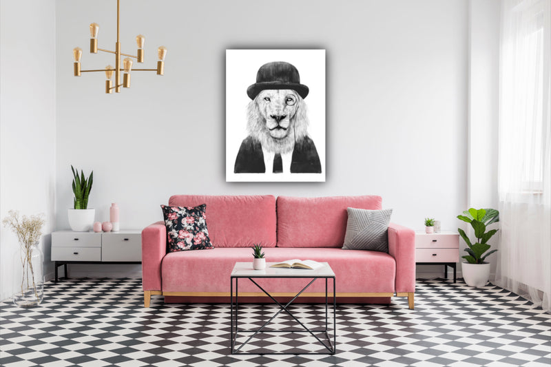 Canvas print wall art Illustration of sophisticated black and white lion.