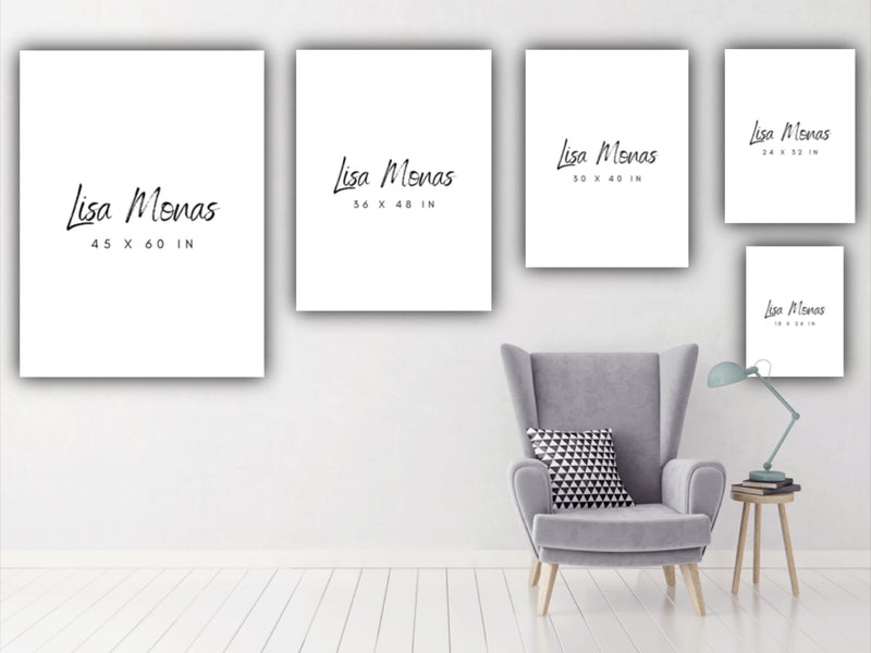 Canvas wall art available in multiple sizes. Office, bedroom, living room, interior design.
