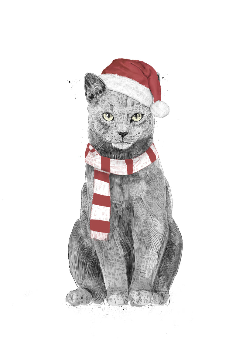 Canvas print wall art illustration of cat dressed up for the holidays in scarf and Santa hat by Balázs Solti.