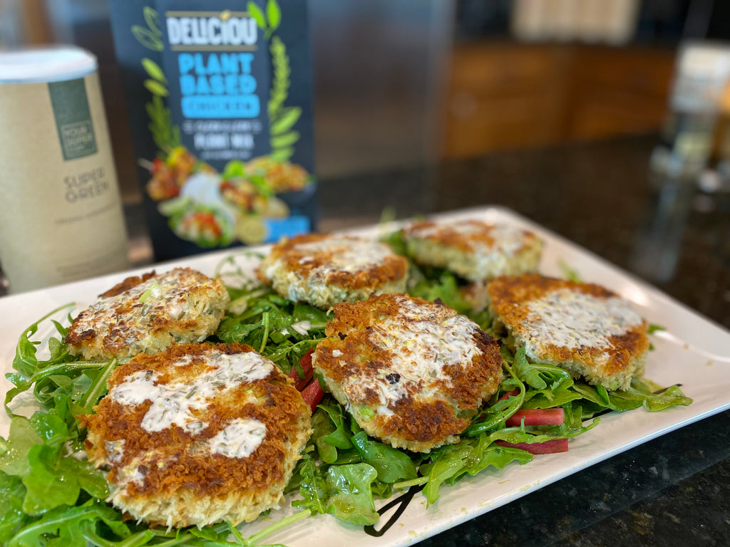 Plant Based Crab Cakes w/ Lemon-Tarragon Aioli on a Simple Arugula Salad
