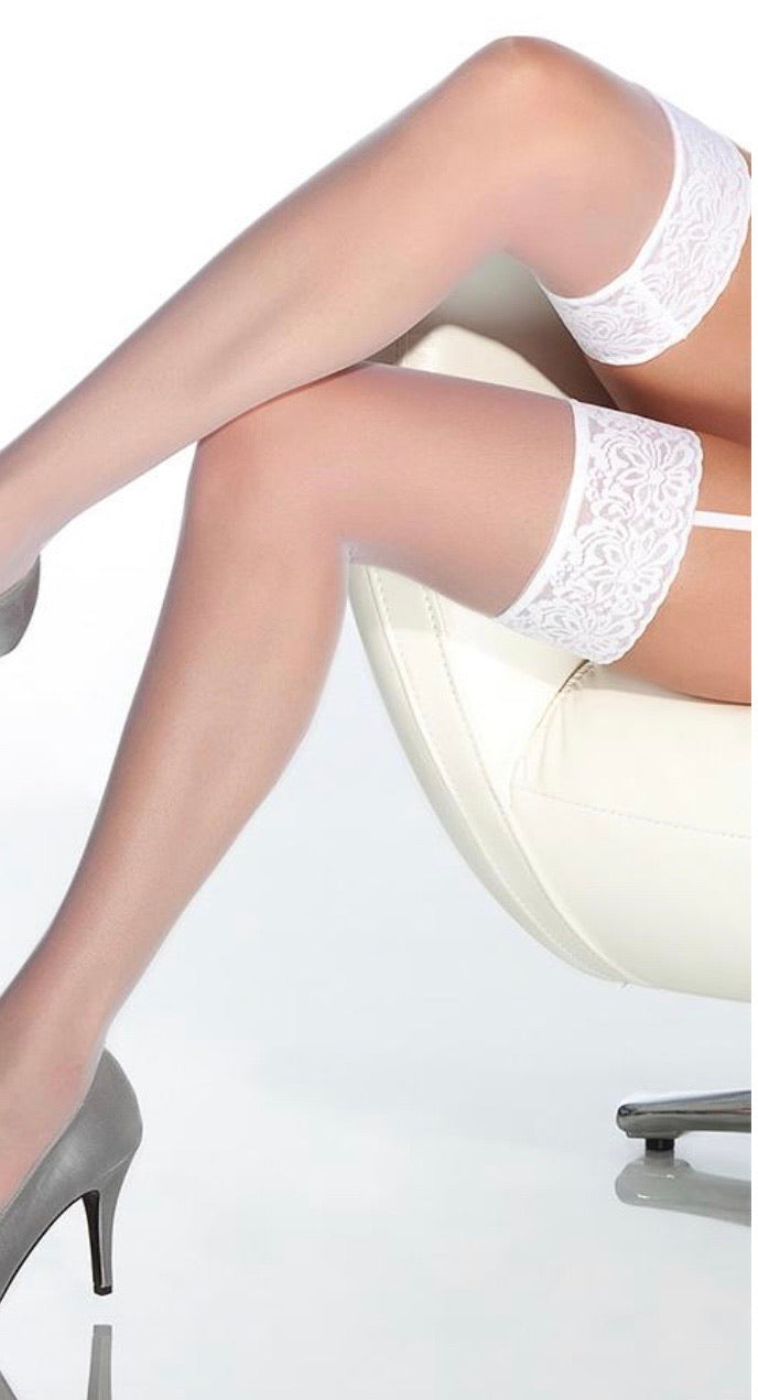 Sheer White Lace Thigh Highs