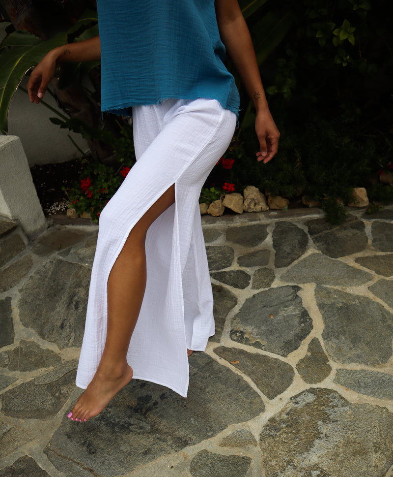 COTTON SIDE SLIT PANT