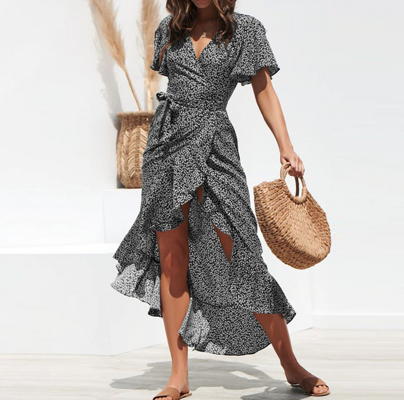 Fit & Flare Boho Floral Maxi Dress with Flare Sleeve - THE GOOD TINGZ