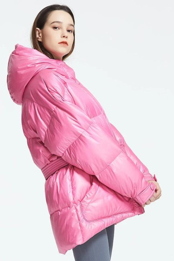 Hooded Insulated Puffer Coat With Belt - THE GOOD TINGZ