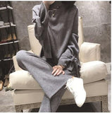 New winter High Quality Cashmere knitted Two piece set Bow Long sleeve pullover Sweater + Elastic wiast Tracksuits pants suit - THE GOOD TINGZ