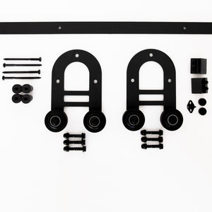 Horse-shoe Black Barn Door Track Set