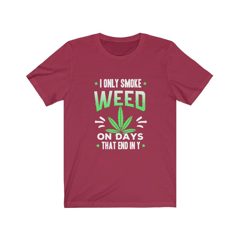 I ONLY SMOKE WEED ON DAYS THAT END IN Y T-SHIRT