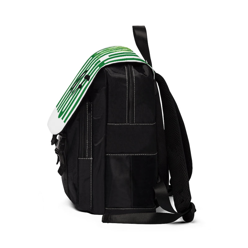 Right side of a black backpack with white flap with the text high af in green and a lighter green marijuana leaf