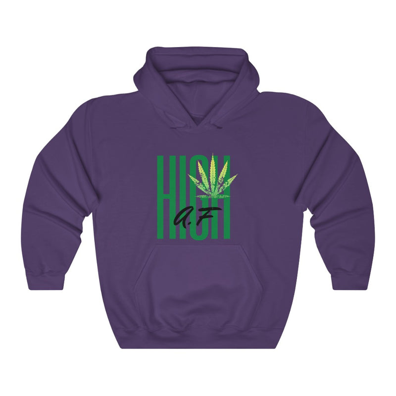 A hooded sweatshirt in the color purple with the words High AF in green and black in the center of the sweatshirt. There is a lighter green cannabis leaf in the upper right corner of the text