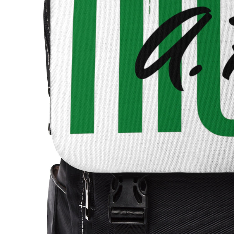 Close-up of the flap of a black backpack with white flap with the text high af in green and a lighter green marijuana leaf