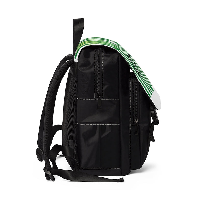 Side view of a black backpack with white flap with the text high af in green and a lighter green marijuana leaf