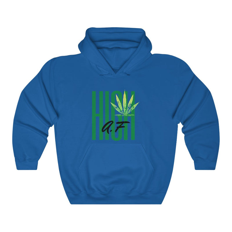A hooded sweatshirt in the color blue with the words High AF in green and black in the center of the sweatshirt. There is a lighter green cannabis leaf in the upper right corner of the text