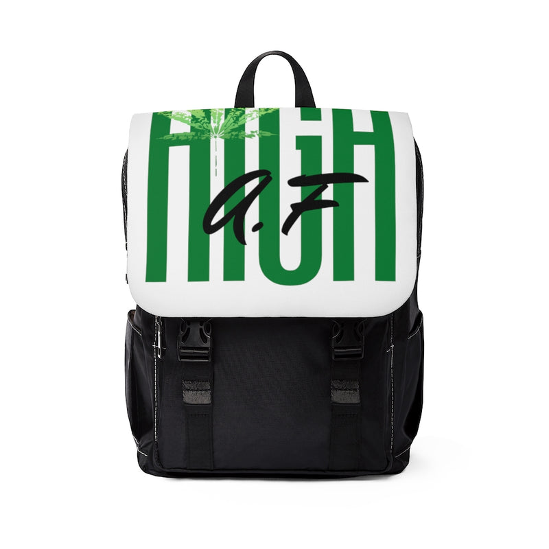 Front view of backpack with white flap with the text high af in green and a lighter green marijuana leaf