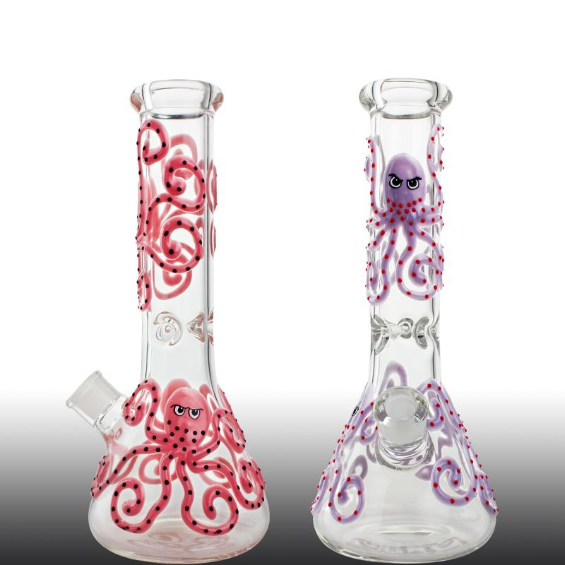 7mm Thick Octopus Beaker Bong 13 Inch Tall Bong Hand Painting Octopus Glass Water Pipe Dab Rigs Green Pink Purple Bong
