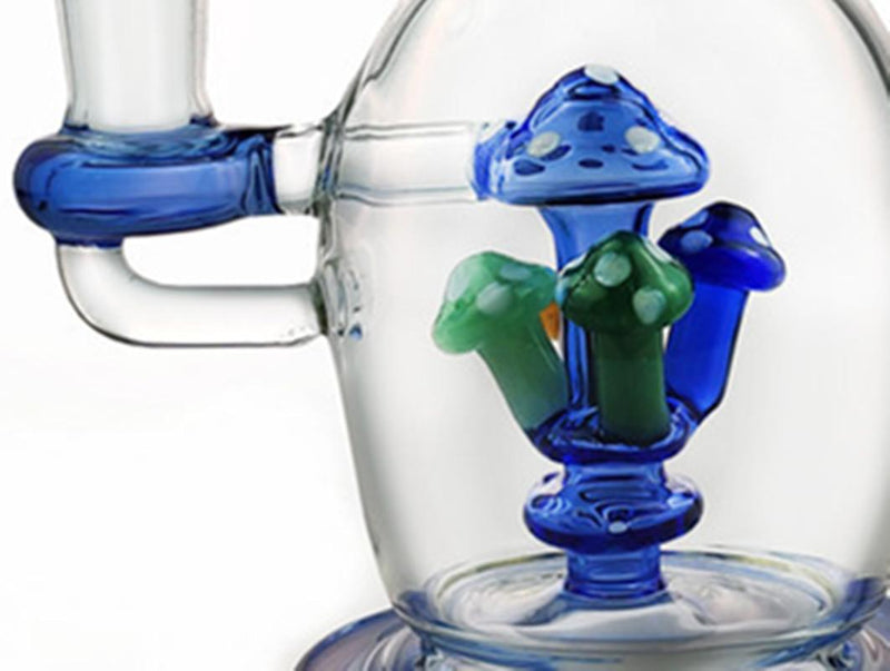 8 inch mushroom shape glass bongs bent water bong handmade Glass pipe thick beaker Bong recycler dab rig with removable bowl