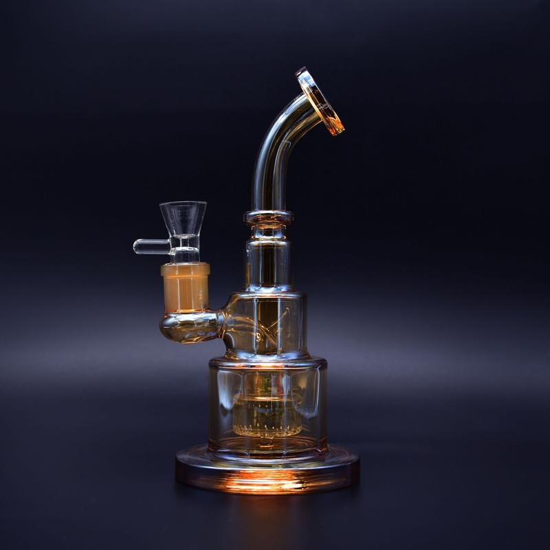 9 inch cake design glass bong Metallic color tinted glass water pipe dab rigs new gift recycler for sale