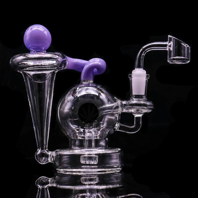 "5.7"" Glass Bong Recycler Dab Rig Wax Herb Tobacco water pipe with 3 different colors Oil Rig Glass Bubbler"