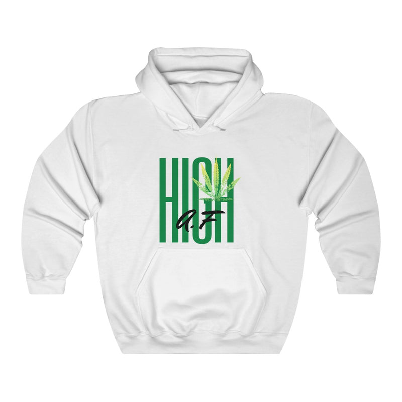 A hooded sweatshirt in the color white with the words High AF in green and black in the center of the sweatshirt. There is a lighter green cannabis leaf in the upper right corner of the text
