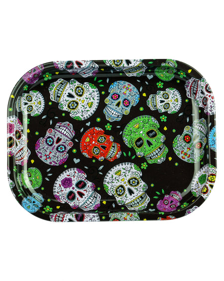 Dia De Los Muertos Rolling Tray with colorful skulls design