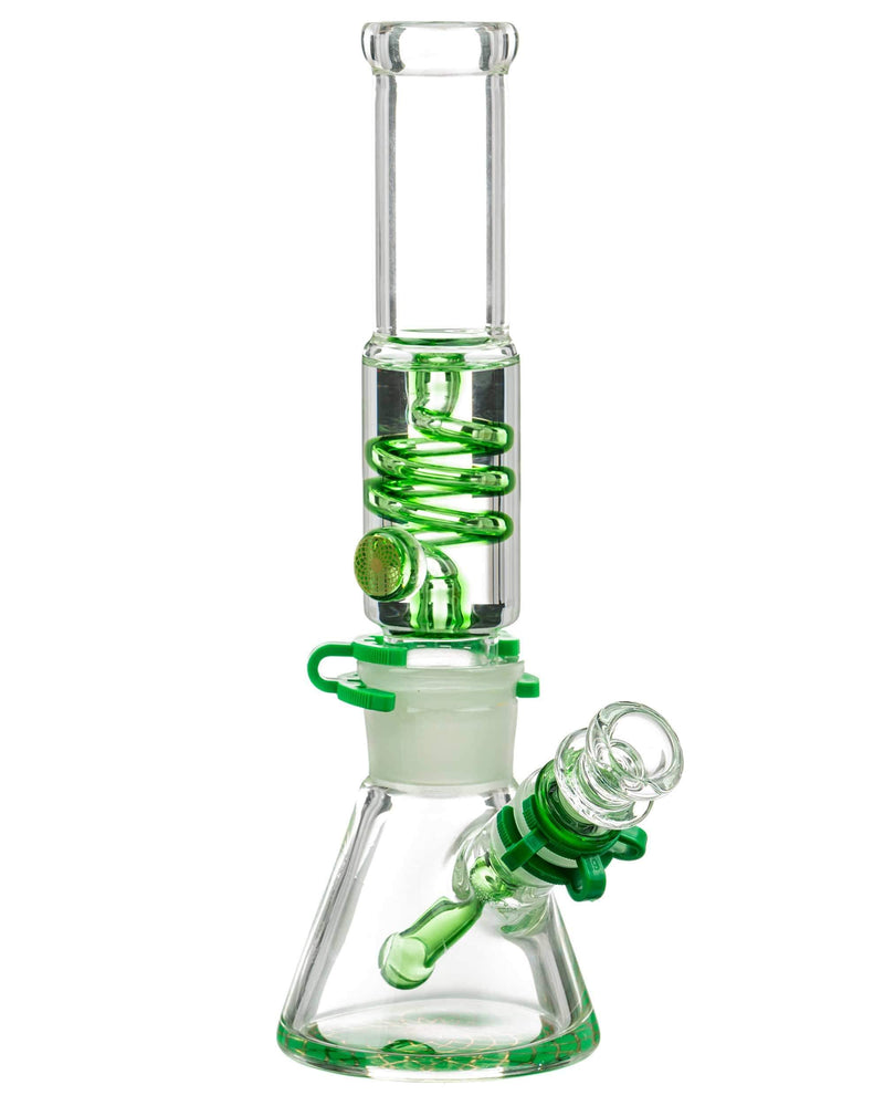Glycerin coil beaker bong with Gold Accents in Green