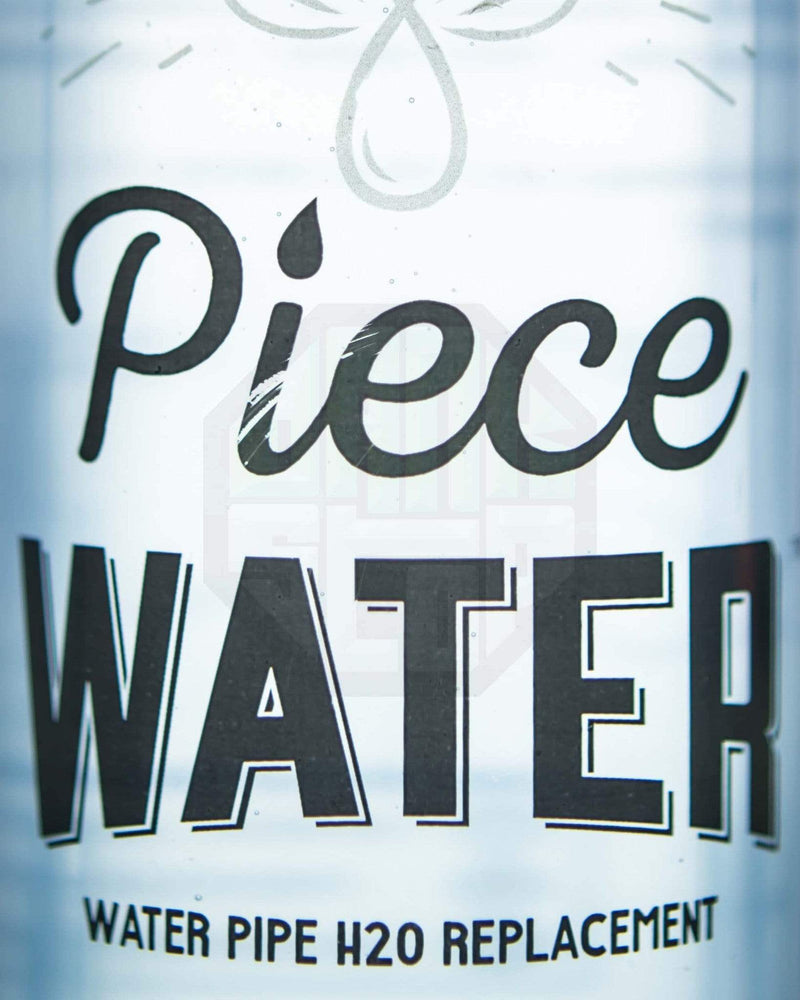 close-up of piece water logo