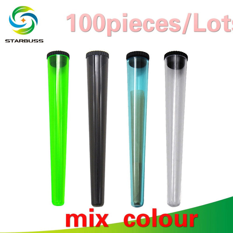 Four plastic flip top containers in lime green, black, blue ,and clear