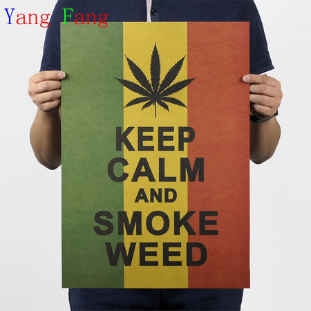 A green, yellow, and red poster with the text  Keep Calm and Smoke Weed in black ink. A black cannabis leaf is right above the text