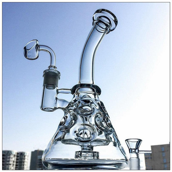 Fab Egg Glass Beaker Bongs Showerhead Perc Bong 9 Inch Mini Recycler Dab Rig Water Pipes Small Oil Rigs Bubbler Smooth Pipe MFE09