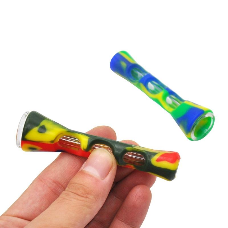 Silicone Glass Smoking Herb Pipe 87MM One Hitter Dugout Pipe Tobacco Cigarette Pipe Hand Spoon Pipes Smoke Accessories Wholesale VT0614