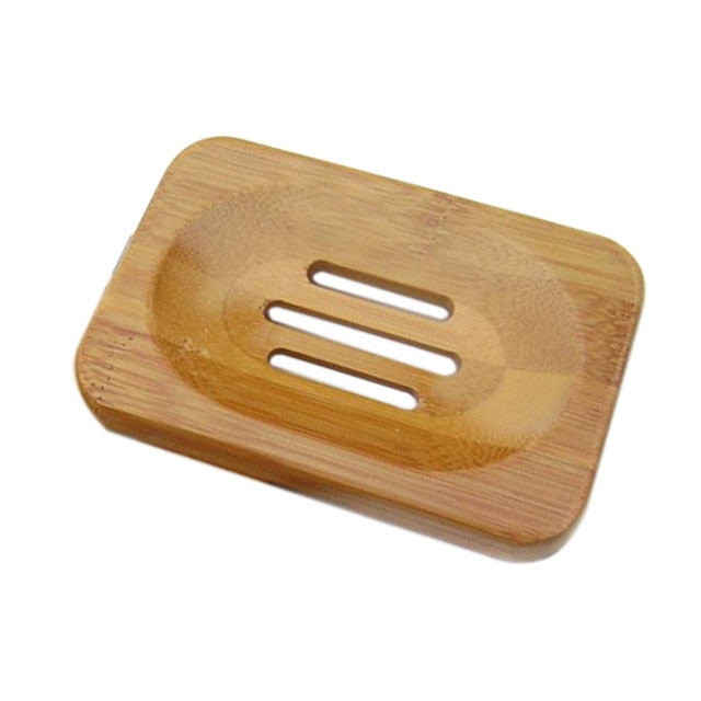 Eco-friendly Bathroom Soap Tray Dish Drain Plate Wooden Storage Stand Holder
