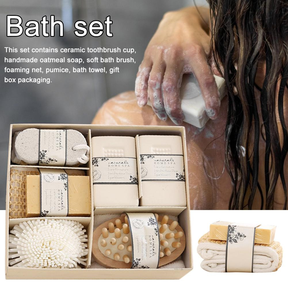 Spa Bath Set With Pumice Stone Sponge Wooden Massager Brush Soap Gift Set For Women Man Baby Bath 8pcs/set