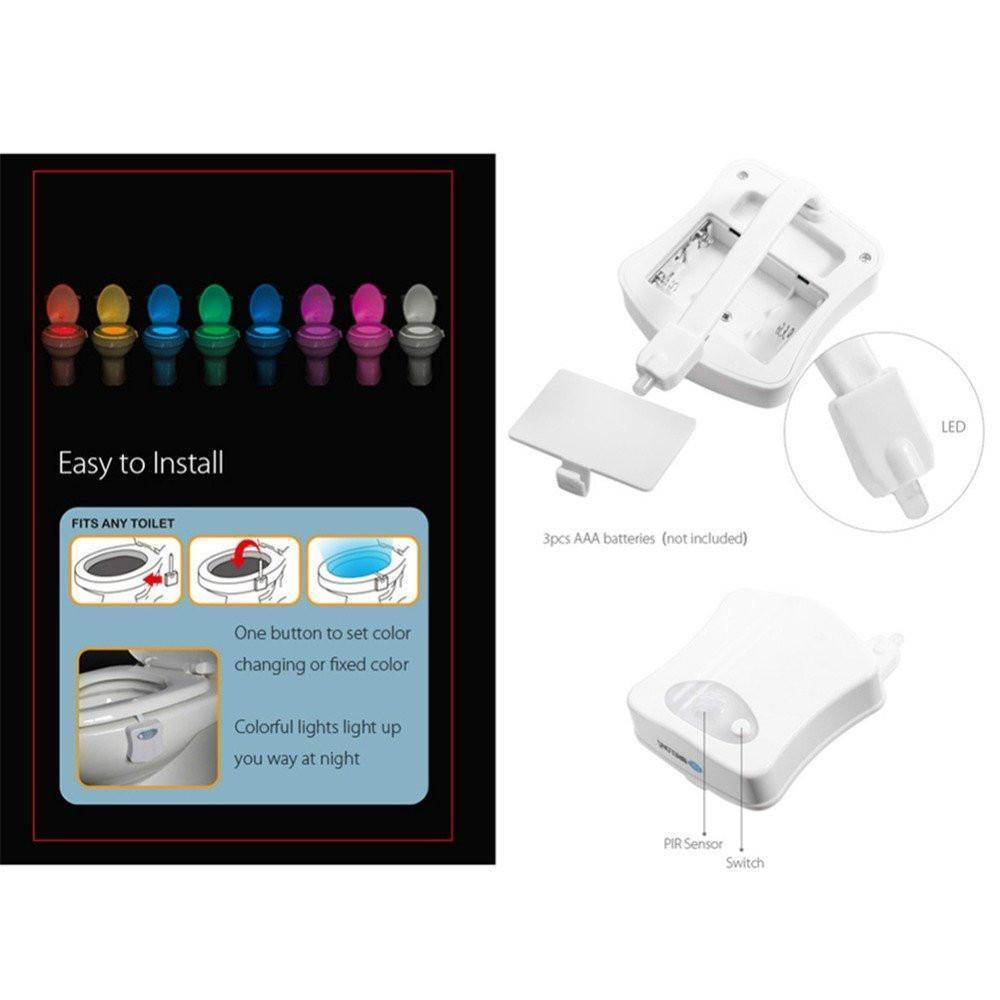 8-COLOR LED SENSORED TOILET POTLIGHT
