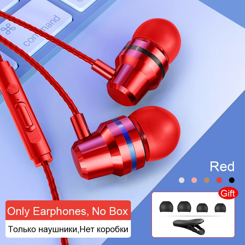 Wired Earbuds Headphones 3.5mm In Ear Earphone Earpiece With Mic Stereo Headset 5 Color For Samsung Xiaomi Phone Computer