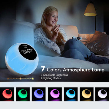 Uwake Alarm Clock Wireless Bluetooth Speaker Portable LED Loudspeaker Touches Lamp Stereo Music Surround Outdoor Speaker