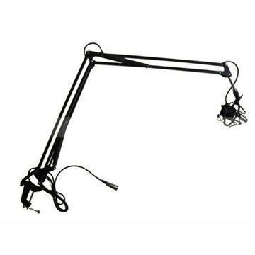 Studio Broadcast Microphone Suspension Boom Scissor Arm Stand with Shock Mount Holder Clip Recording with Cable