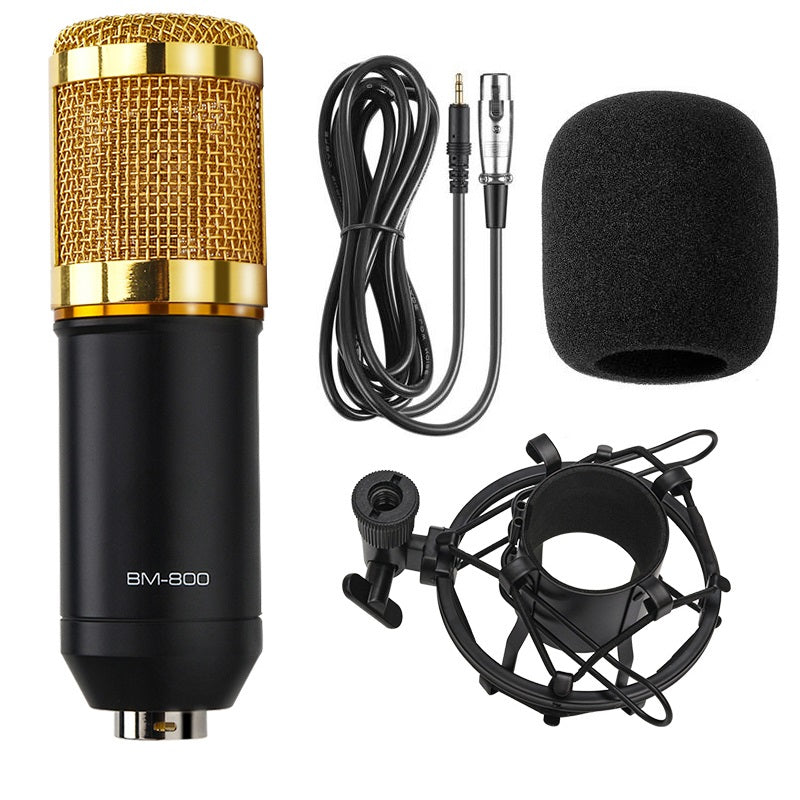 Professional BM-800 Condenser Microphone bm800 Audio Vocal recording for Computer karaoke Phantom power pop filter Sound Card