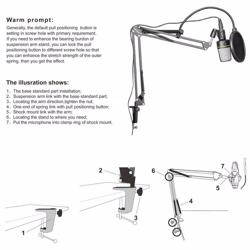 NB-35 Microphone Suspension Arm Stand Clip Holder and Table Mounting Clamp Pop Filter Windscreen Mask Shield Clip Kit