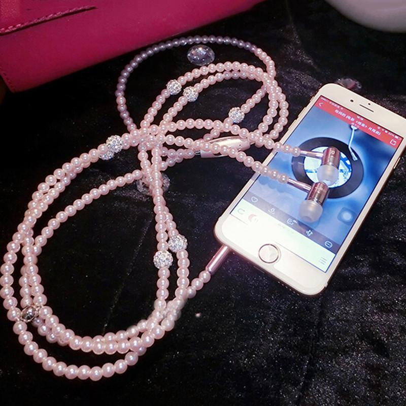 Pearl Necklace Earphone In-Ear Pink Rhinestone Jewelry Beads Earbuds With Microphone for  iPhone Samsung Xiaomi Brithday Girl Gift