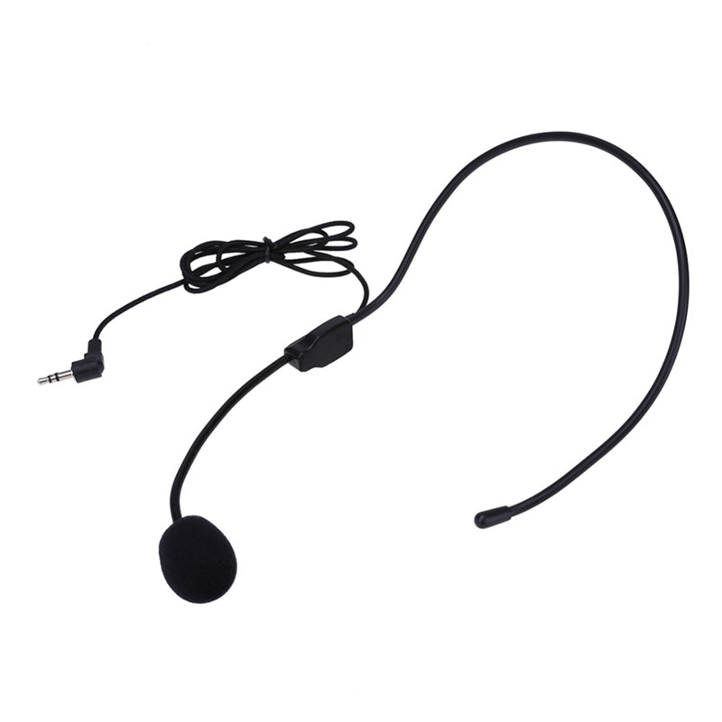 Portable Headset Microphone Wired 3.5mm Jack Condenser Mic Universal for Loudspeaker Tour Guide Teaching Lecture