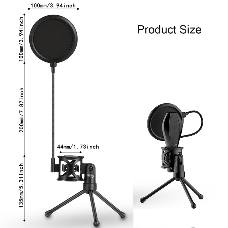 Microphone Stand Bracket Portable Desktop Mic Tripod Holder With Shock Mount Wind Pop Filter for Broadcast Online Conference