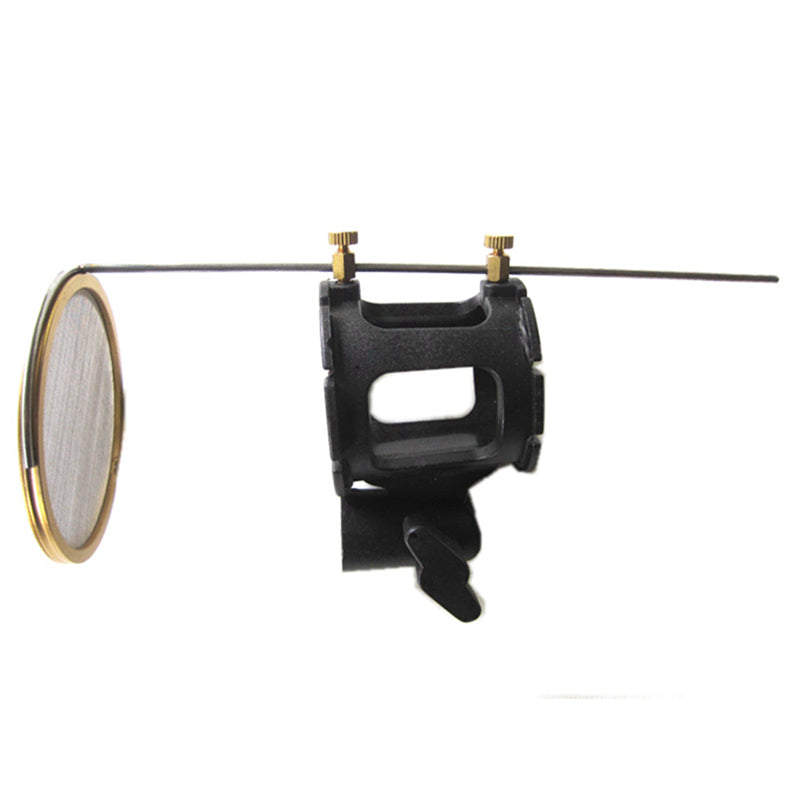 Microphone Suspension Shock Mount Clip with Mini Metal Pop Filter for Wire and Wireless Dynamic C-2 Mic 25-38mm