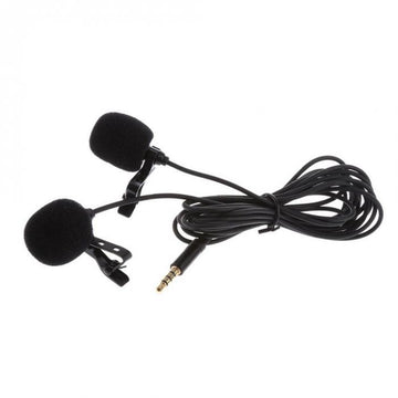 Mini Lavalier Lapel Microphone Dual Headed Recording Clip On Mic for iPhone iPad Samsung Tablet DJA99