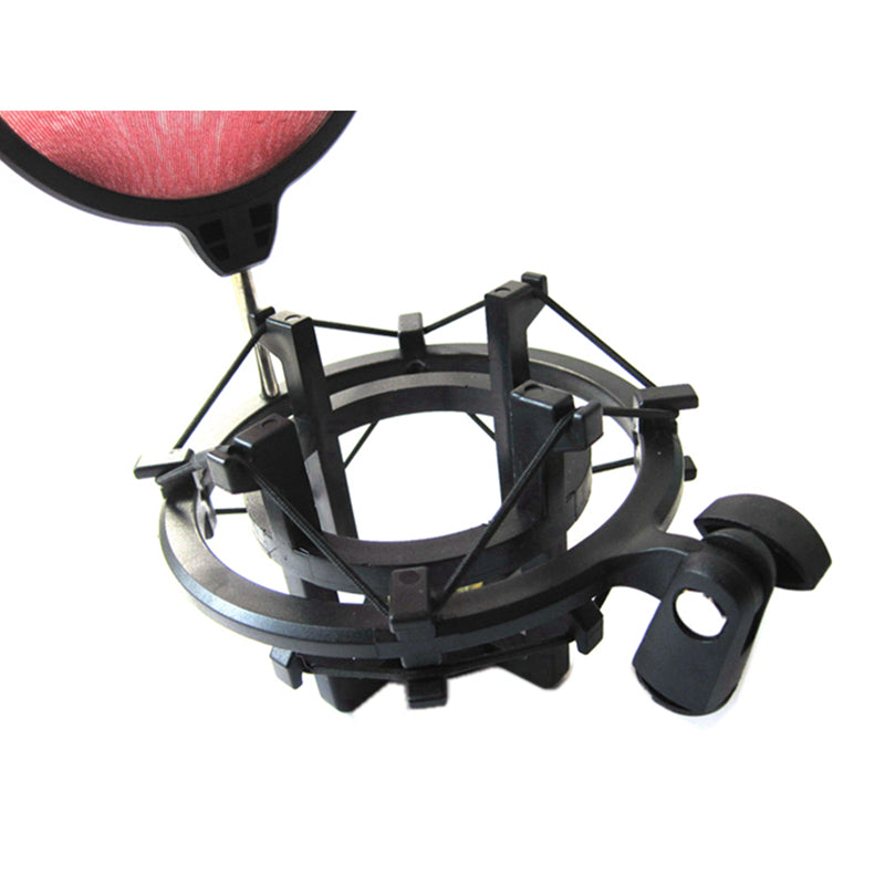 Microphone Shock Mount with Integrated Pop Shield Filter Screen Clip Elastic Suspension
