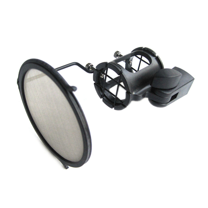 Microphone Shock Mount with Mini Pop Filter MK-012 SMP-012 Integrated Windscreen Kit Metal for AKG Schoeps sspf-3 19-28mm