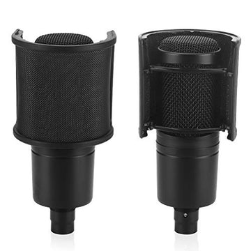 Microphone Shock Mount with Pop Filter Anti-Vibration Suspension Holder Clip for Diameter 46mm-53mm AT2020 Metal