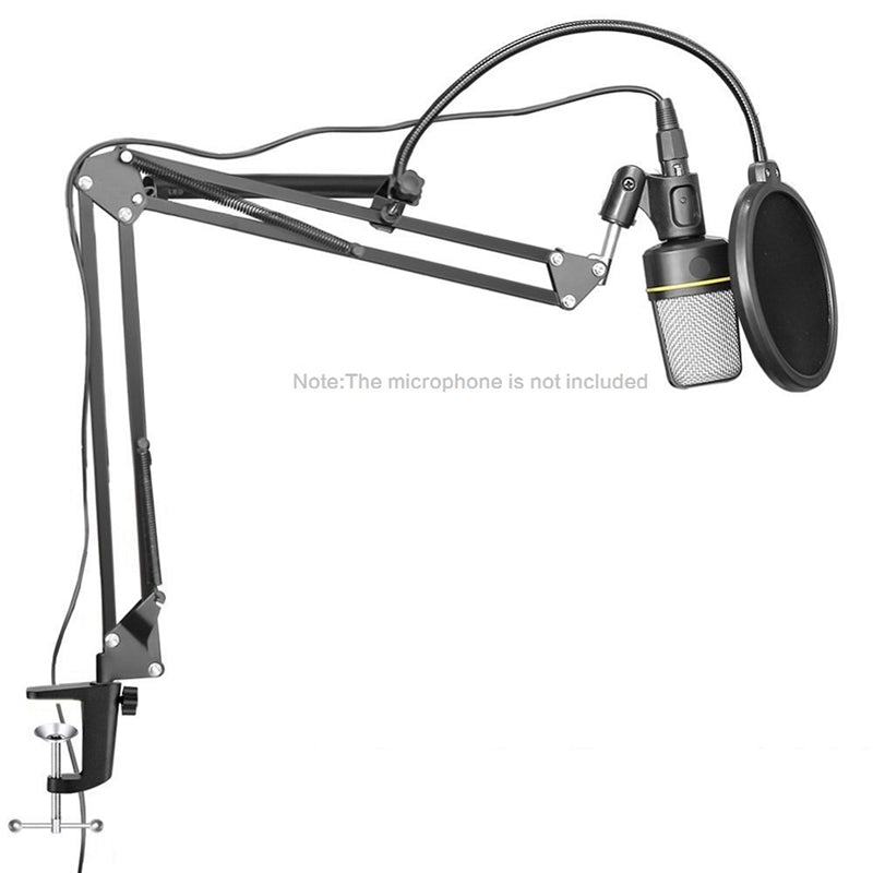 Microphone Stand Boom Suspension Scissor Table Arm Recording Studio W/ XLR Cable