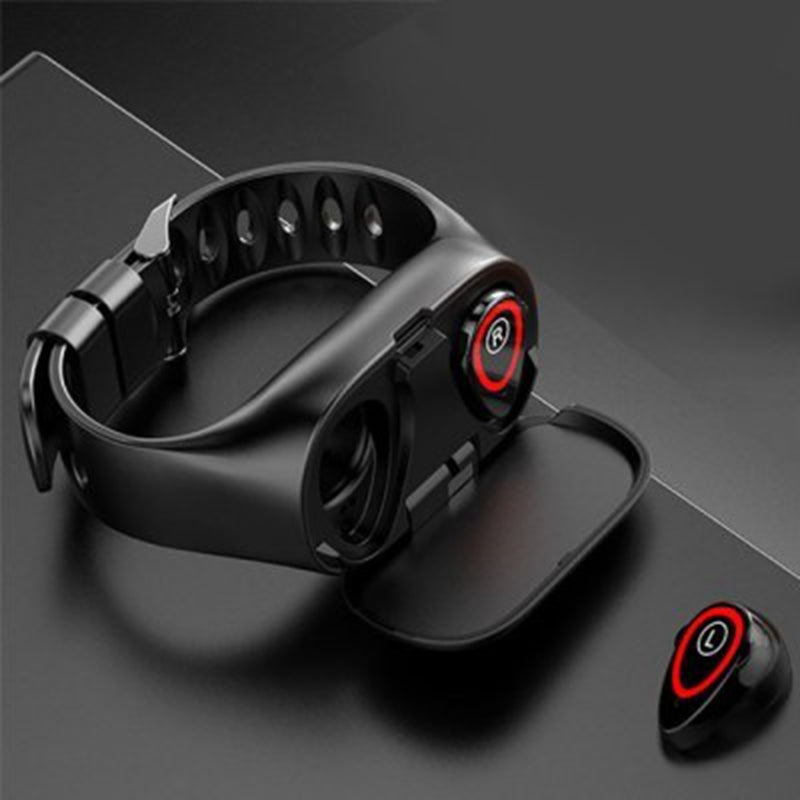 M1 Wristband TWS Bluetooth 5.0 Earphone Wireless Headphones for Phone Smart Watch with Heart Rate Monitor True Stereo Sports Earbuds