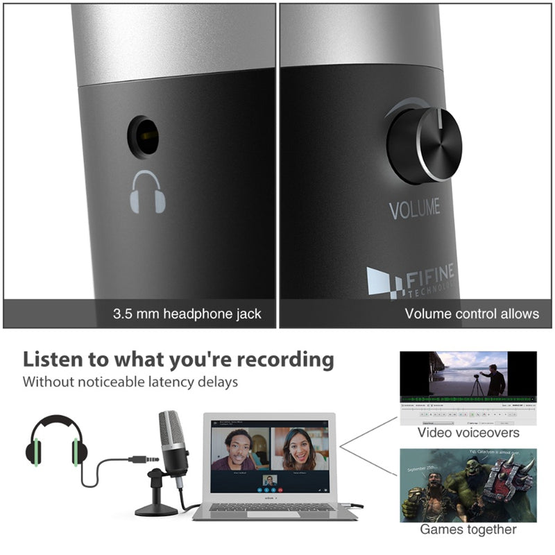 K670 USB Microphone for Mac laptop and Computer for Recording Streaming Twitch Voice overs Podcasting for Youtube Skype