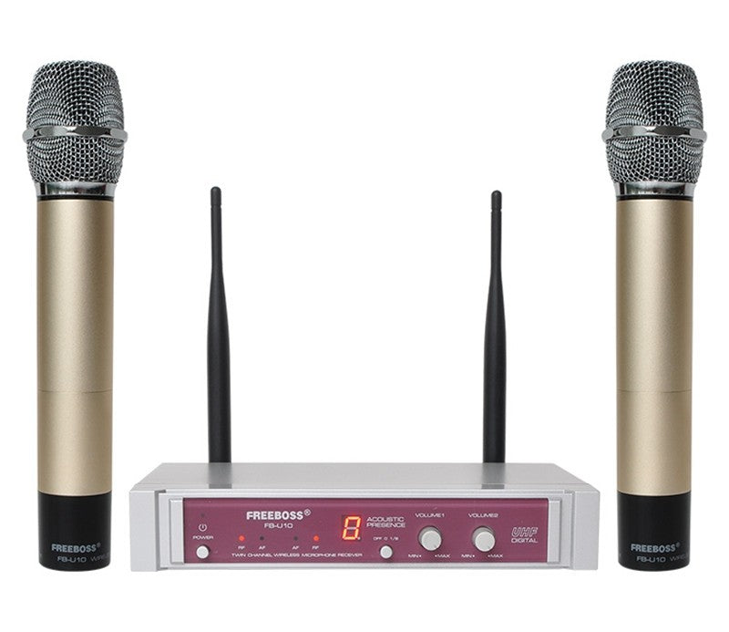 FB-U10 Dual Way Digital UHF Wireless Microphone with 2 Metal Handhelds